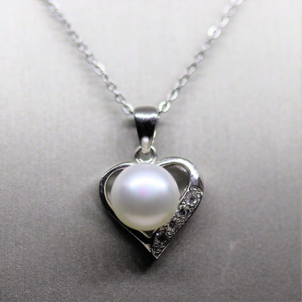 Heart Pearl & CZ Diamonds Pendant