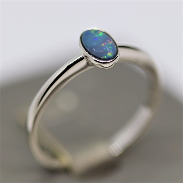 Minimalist Australian Colorful Sparkles Doublet Opal Silver Ring