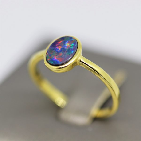 Minimalist Australian Red Doublet Opal Gold Plated Ring