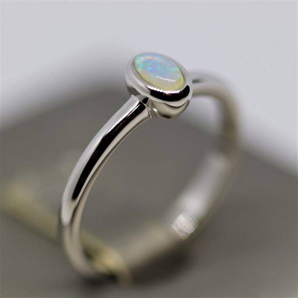 Minimalist Oval Multicolor Petite Solid Opal Silver Ring
