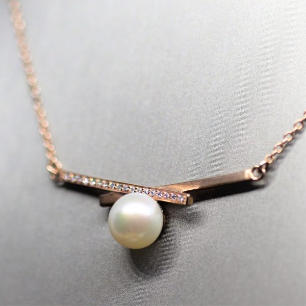 Pearl & CZ Diamonds 18k Rose Gold Plated Pendant