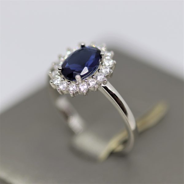 Sapphire Oval Halo Silver Ring