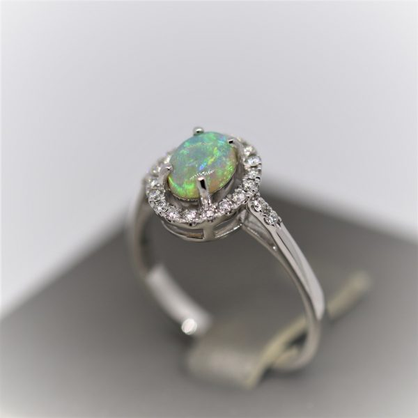18K White Gold Cathedral Solid Opal & Diamonds Ring