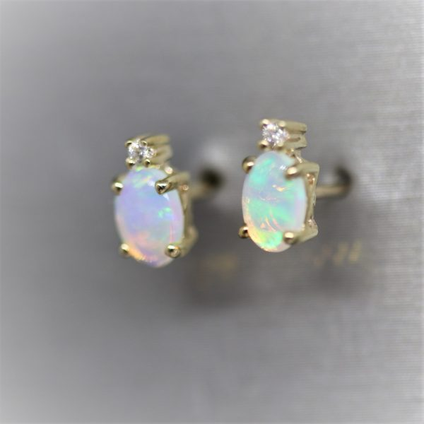 9K Gold Delicate Solid Opal & Diamonds Stud Earrings