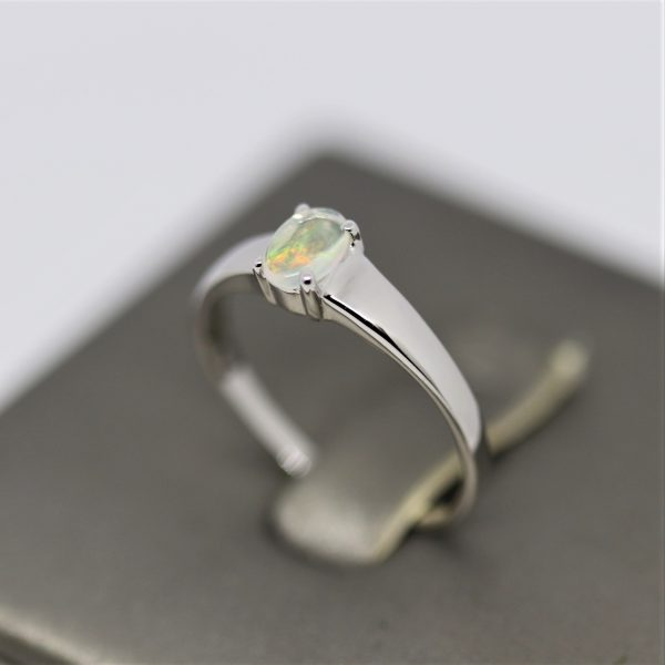 Australian Clear Green Solid Opal Silver Ring