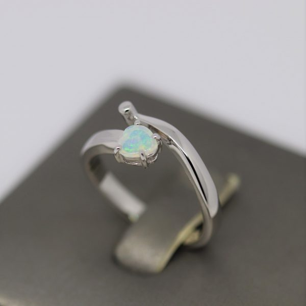 Delicate Crystal Light Blue Opal Heart Silver Ring