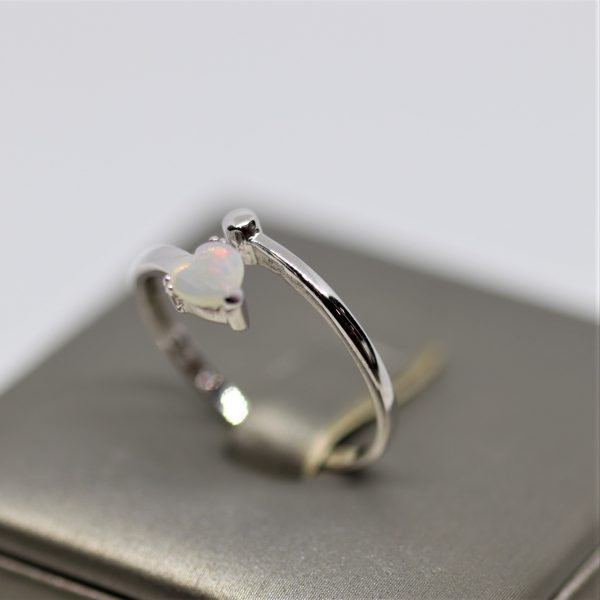 Delicate Crystal Red Opal Heart Silver Ring