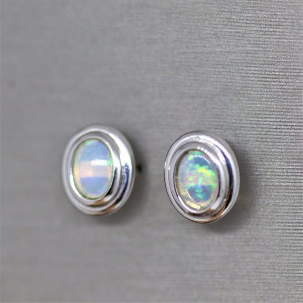 Oval Crystal Opal Silver Stud Earrings
