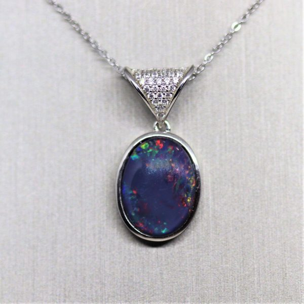 Red Triplet Opal and Cubic Zirconia Silver Pendant