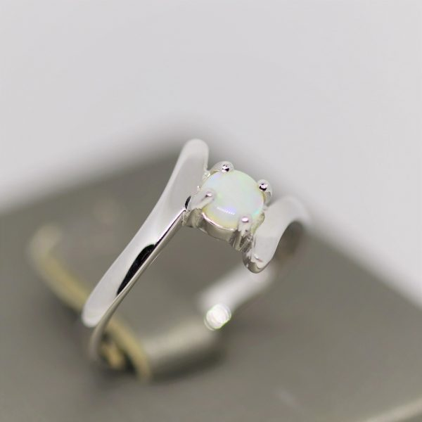 Round Green Faded Solid Opal Silver Ring