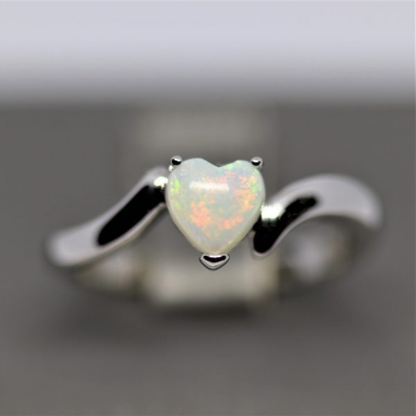 Solid Opal Red Heart Silver Ring