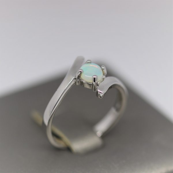 Crystal Caress Solid Opal & Silver Ring