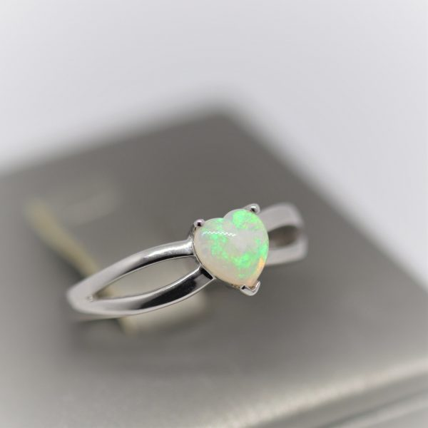 Heart Shaped Green Glaze Solid Opal Ring