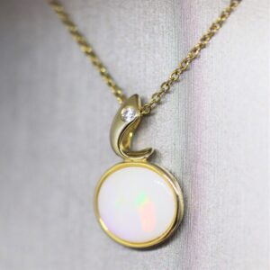 Horizontal Solid Opal Gold Plated Pendant