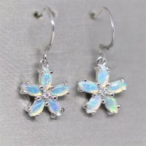 Petite Crystal Solid Opal Silver Earrings