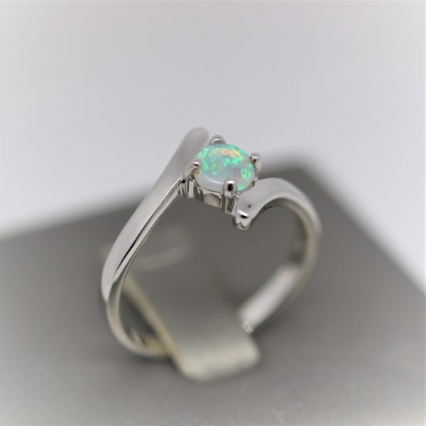 Crystal Caress Solid Opal & Silver Ring - Light Blue