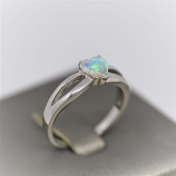 Heart Shaped Light Blue Solid Opal Ring