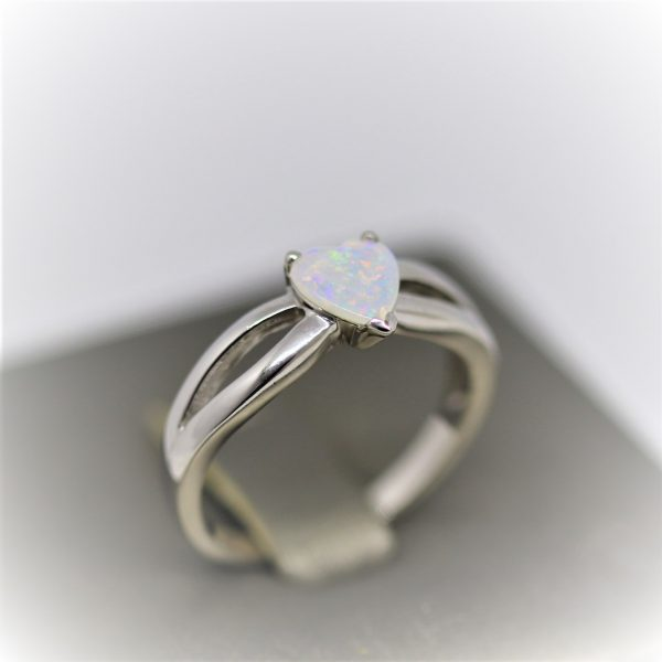 Heart Shaped Pastel Solid Opal Ring
