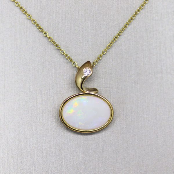 Horizontal Sparkle Solid Opal Gold Plated Pendant