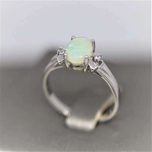 Royal Crystal Solid Opal & Silver Ring