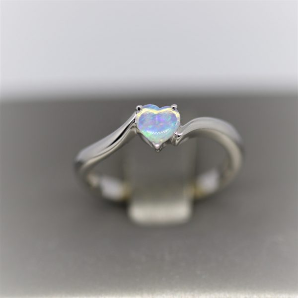 Stunning Heart Solid Crystal Opal Ring - Light Blue