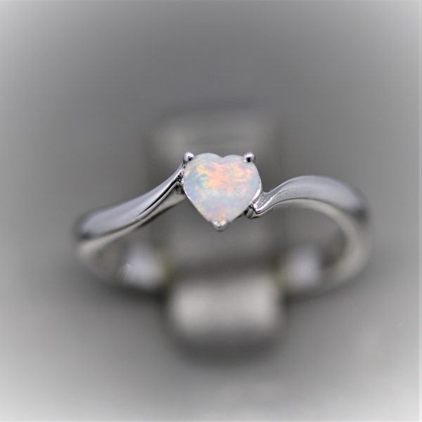Stunning Heart Solid Opal Ring - Pastel