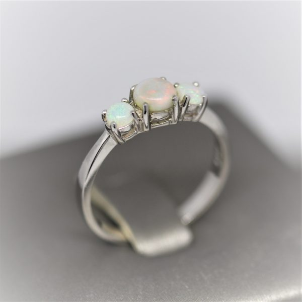 Trinity Pink Solid Opal & Silver Ring
