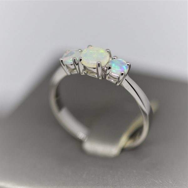 Trinity Solid Opal & Silver Ring