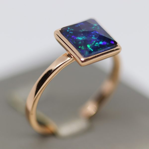 Sapphire Blue Opal Rose Gold Plated Ring