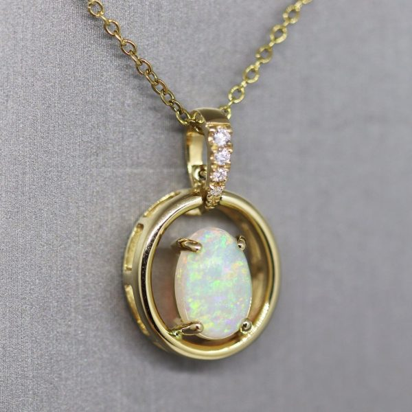 Enchanted 18K Gold Crystal Opal & Diamonds Pendant