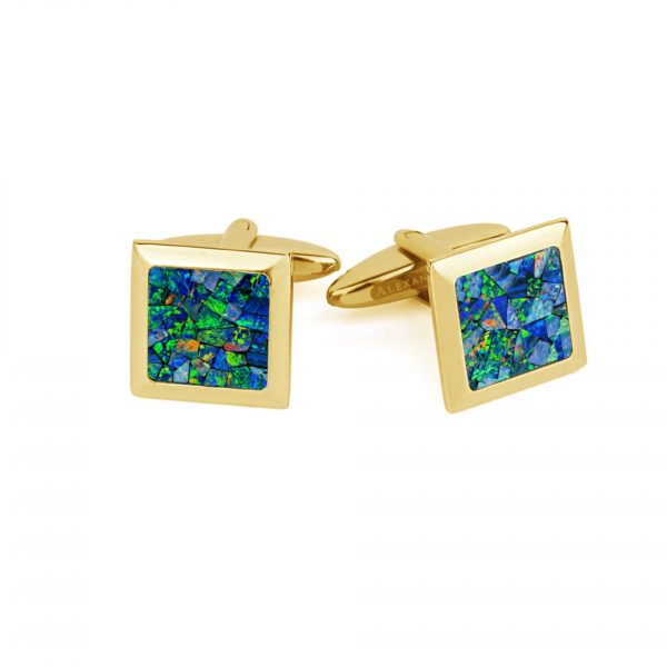 Le Carré • Yellow Gold Plated Ocean Opal Bisel Cufflinks