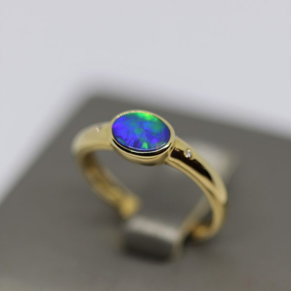 Fire Multicolor Opal 14k Gold Band Ring