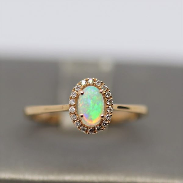 18K Rose Gold Solid Oval Opal & Diamonds Ring