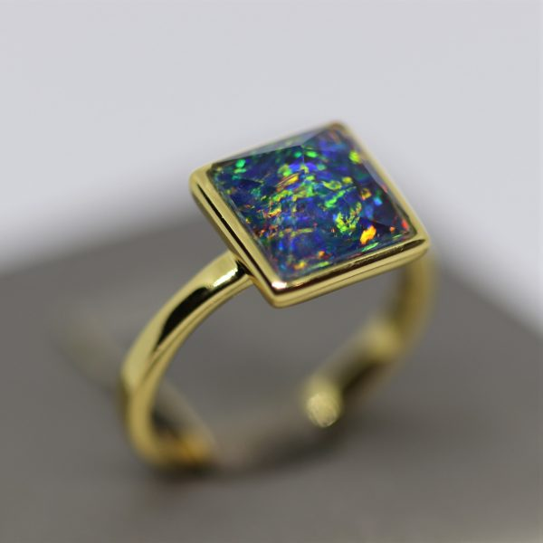 Magical Multicolor Australian Opal 18K Gold Plated Ring