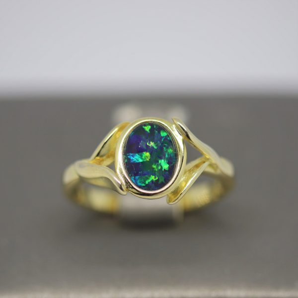 Rose Triplet Opal Gold Plated Ring