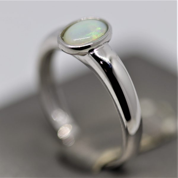 Solid Australian Opal & Silver Band Ring