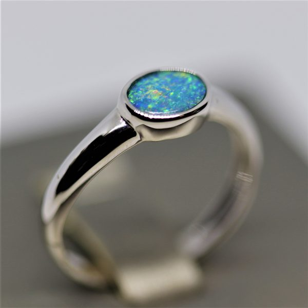 14K White Gold Horizontal Turquoise Doublet Opal Ring