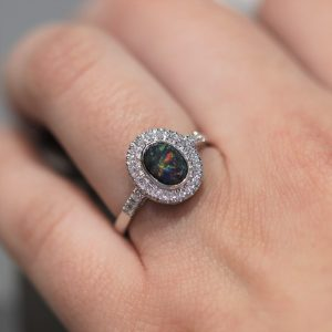 Cathedral 18K White Gold Black Opal & Diamonds Ring