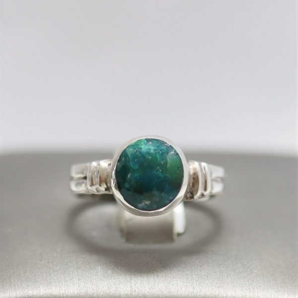 Marbled Malachite Silver Band Design Ring