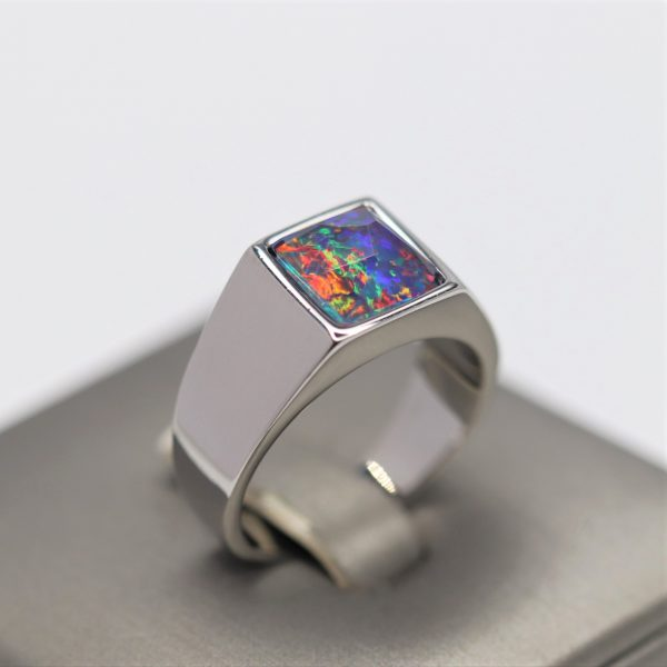 Colourful Triplet Opal Faceted Men Ring
