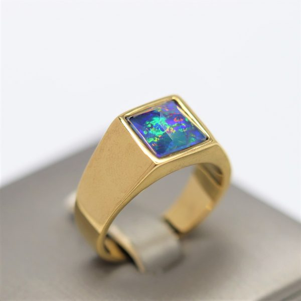Colourful Triplet Opal Faceted Yellow Gold Men Ring