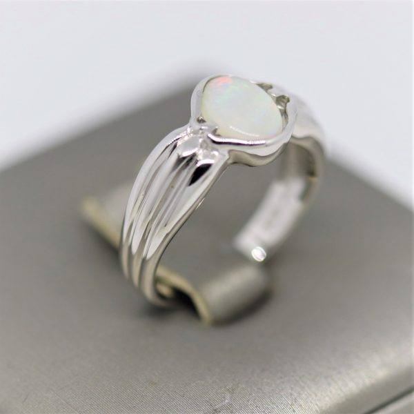 Australian Solid Opal Silver Band Ring