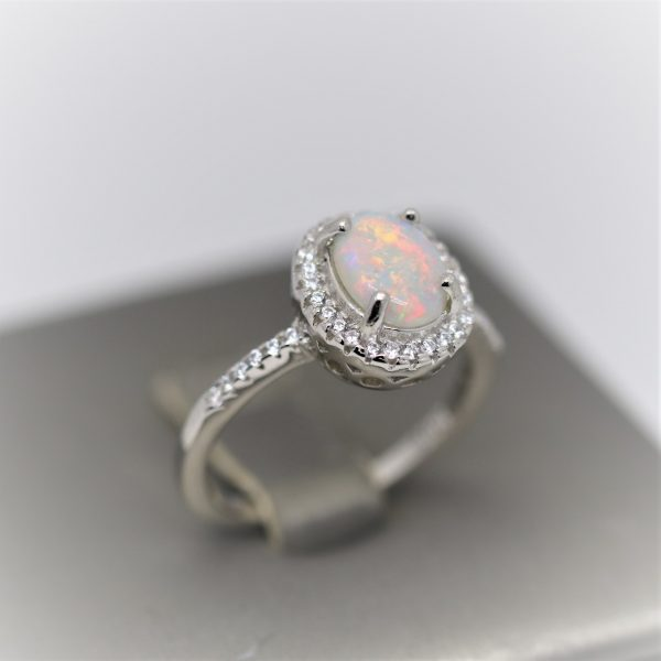 Shiny Summer Solid Opal & Cubic Zirconia Ring